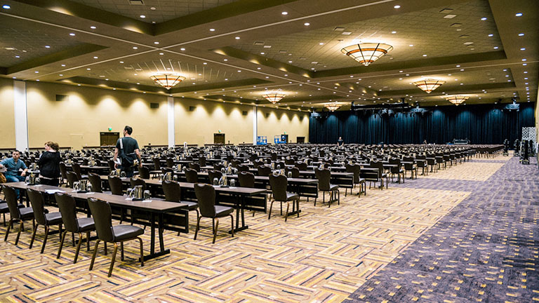 A ballroom set up classroom style for a large event at Kalahari Resorts & Conventions in Pocono Mountains, Pennsylvania