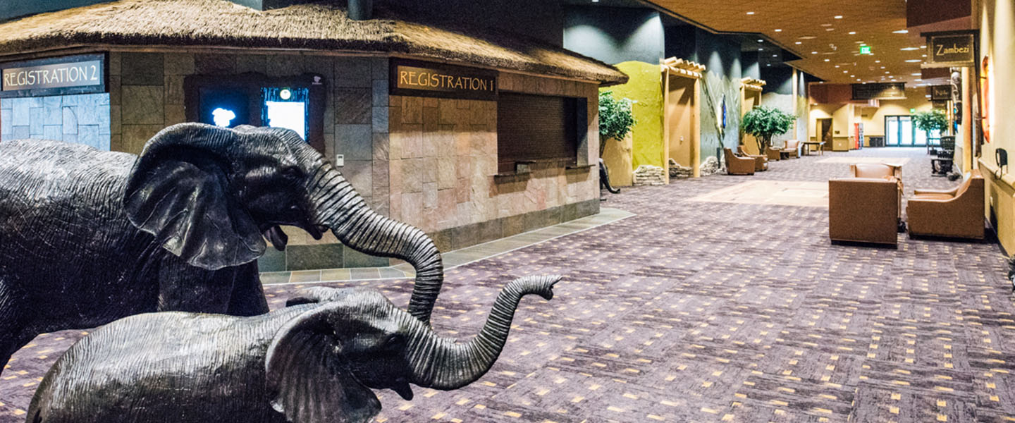 Realistic metal sculpture of a mother and baby elephant in the hallway at Kalahari Resorts & Conventions in Pocono Mountains, Pennsylvania