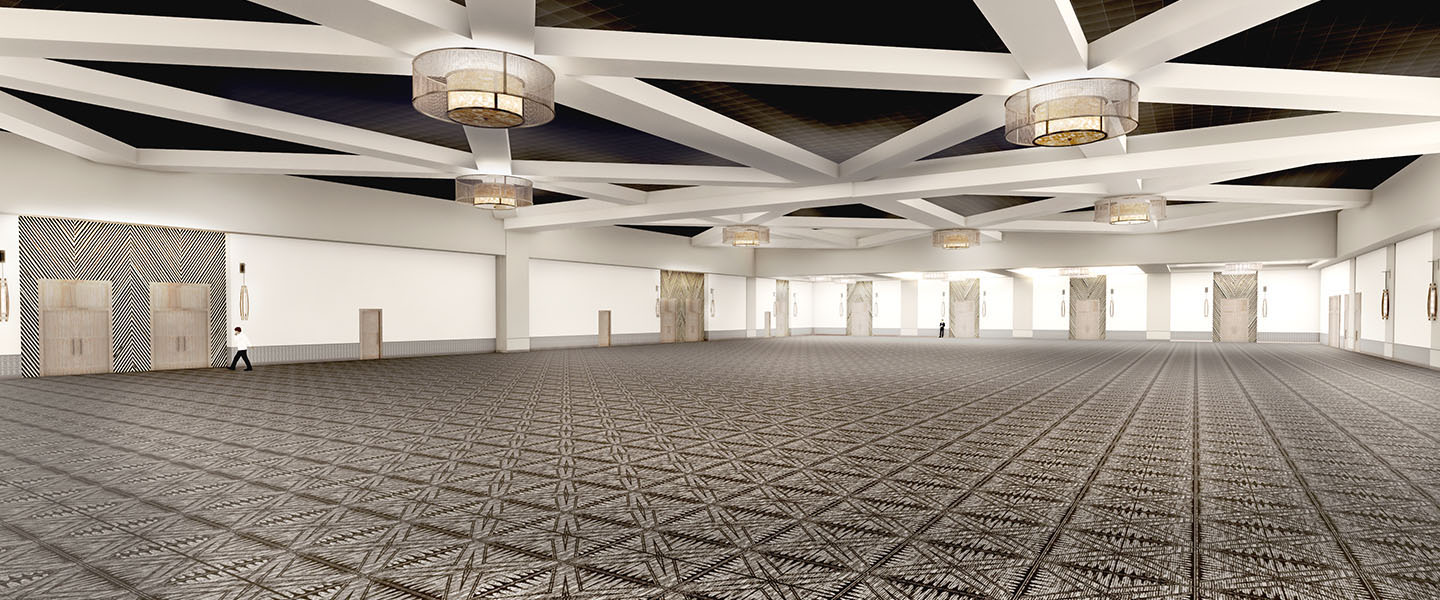 Rendering of an empty ballroom at Kalahari Resorts & Conventions in Round Rock, Texas