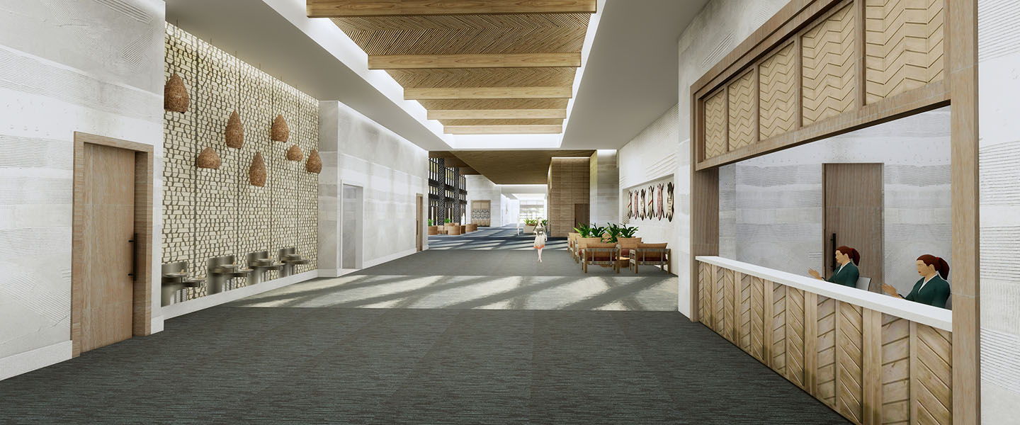 Rendering of the reception desk at the convention center in Kalahari Resorts and Conventions in Round Rock, Texas